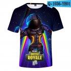 Casual 3D Cartoon Pattern Round Neck T-shirt Picture color Y_M