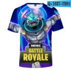 Casual 3D Cartoon Pattern Round Neck T shirt Picture color Z XS