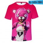 Casual 3D Cartoon Pattern Round Neck T-shirt Picture color AH_XS