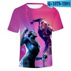Casual 3D Cartoon Pattern Round Neck T shirt Picture color AK XL