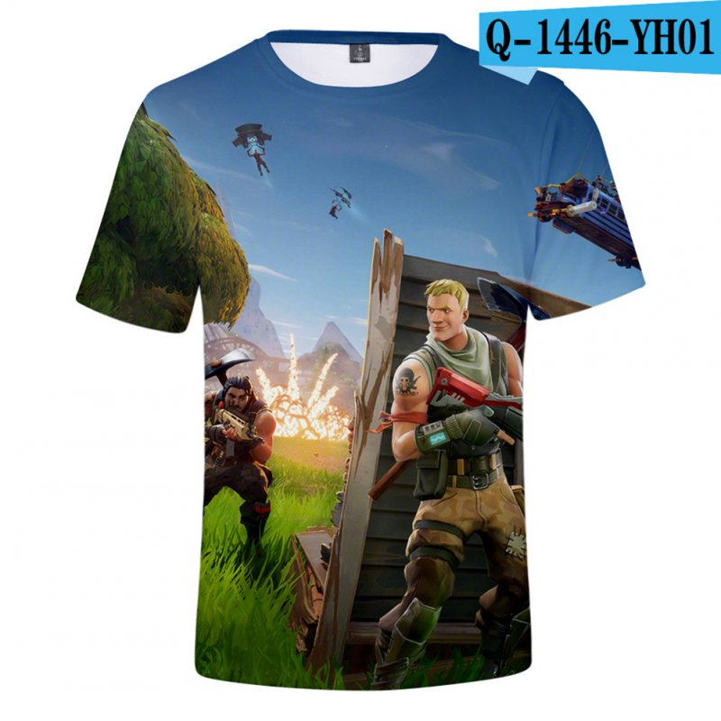 Casual 3D Cartoon Pattern Round Neck T-shirt Picture color AL_S