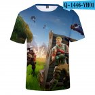 Casual 3D Cartoon Pattern Round Neck T-shirt Picture color AL_M