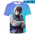 Casual 3D Cartoon Pattern Round Neck T-shirt Picture color AN_XS