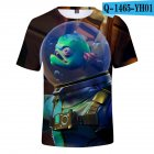Casual 3D Cartoon Pattern Round Neck T-shirt Picture color AM_L
