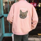 Casual Baseball Jacket with Cat Decor Long Sleeves Zippered Cardigan Top for Man Pink_2XL