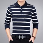 Casual Long Sleeve Business Shirts Turn-down Collar Top Male Striped Polo Shirt  24#_XXL
