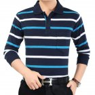 Casual Long Sleeve Business Shirts Turn-down Collar Top Male Striped Polo Shirt  1#_XL