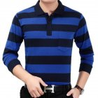 Casual Long Sleeve Business Shirts Turn-down Collar Top Male Striped Polo Shirt  25#_XL
