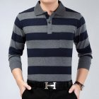 Casual Long Sleeve Business Shirts Turn-down Collar Top Male Striped Polo Shirt  32#_XXL