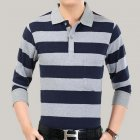 Casual Long Sleeve Business Shirts Turn-down Collar Top Male Striped Polo Shirt  42#_XXXL