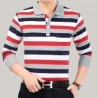 Casual Long Sleeve Business Shirts Turn-down Collar Top Male Striped Polo Shirt  38#_L