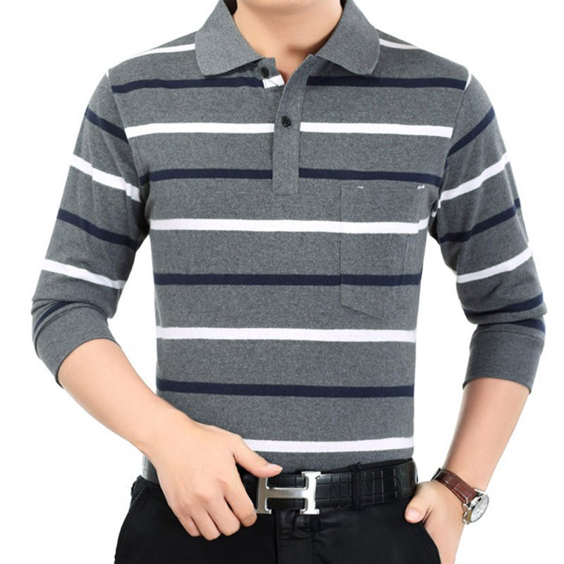 Casual Long Sleeve Business Shirts Turn-down Collar Top Male Striped Polo Shirt  39#_XXXL