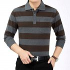 Casual Long Sleeve Business Shirts Turn down Collar Top Male Striped Polo Shirt  47  XXL