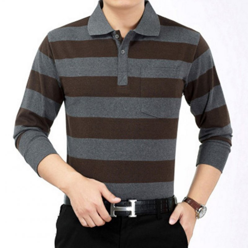Casual Long Sleeve Business Shirts Turn-down Collar Top Male Striped Polo Shirt  47#_XXL