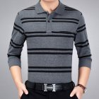 Casual Long Sleeve Business Shirts Turn-down Collar Top Male Striped Polo Shirt  17#_L