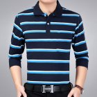 Casual Long Sleeve Business Shirts Turn-down Collar Top Male Striped Polo Shirt  26#_XXXL