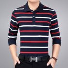 Casual Long Sleeve Business Shirts Turn-down Collar Top Male Striped Polo Shirt  22#_XXL