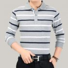 Casual Long Sleeve Business Shirts Turn-down Collar Top Male Striped Polo Shirt  3#_XXL