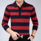 Casual Long Sleeve Business Shirts Turn-down Collar Top Male Striped Polo Shirt  16#_L
