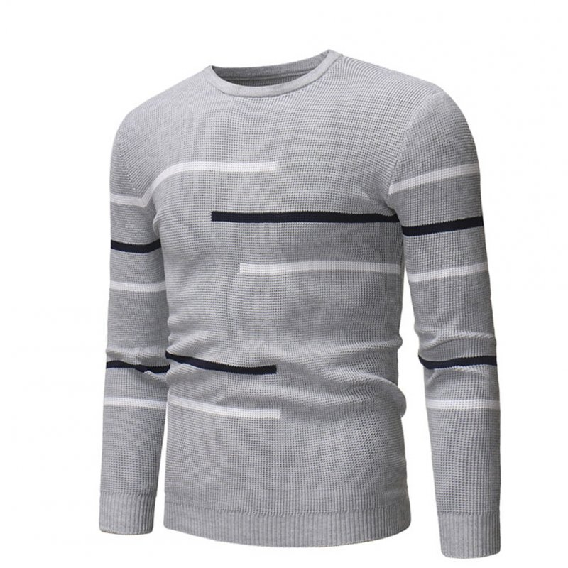 Casual Slim Base Shirt Strips Decorated Top Pullover of Long Sleeves and Round Neck for Man gray_L