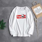 Casual Sweater with Letters Decor Round Neck and Long Sleeves Loose Pullover for Man 743 white_L