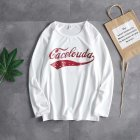 Casual Sweater with Letters Decor Round Neck and Long Sleeves Loose Pullover for Man 747 white_M