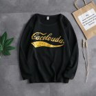 Casual Sweater with Letters Decor Round Neck and Long Sleeves Loose Pullover for Man 747 black_XL