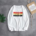 Casual Sweater with Letters Decor Round Neck and Long Sleeves Loose Pullover for Man 748 white_XL