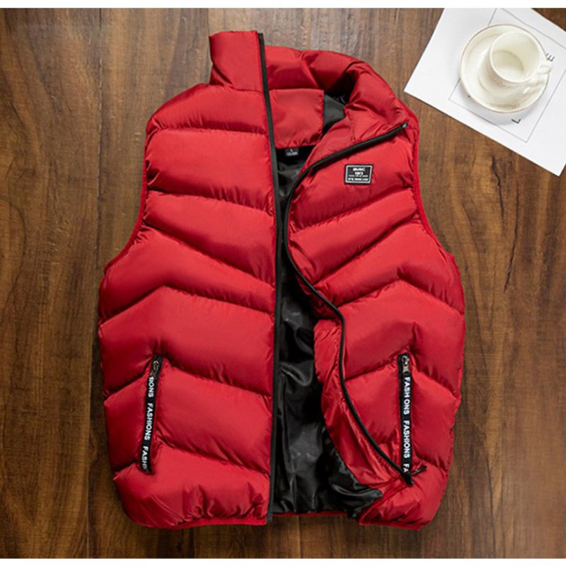 Casual Vest Men Winter Jackets Thick Sleeveless Coats Male Warm Cotton-Padded Waistcoat red_M