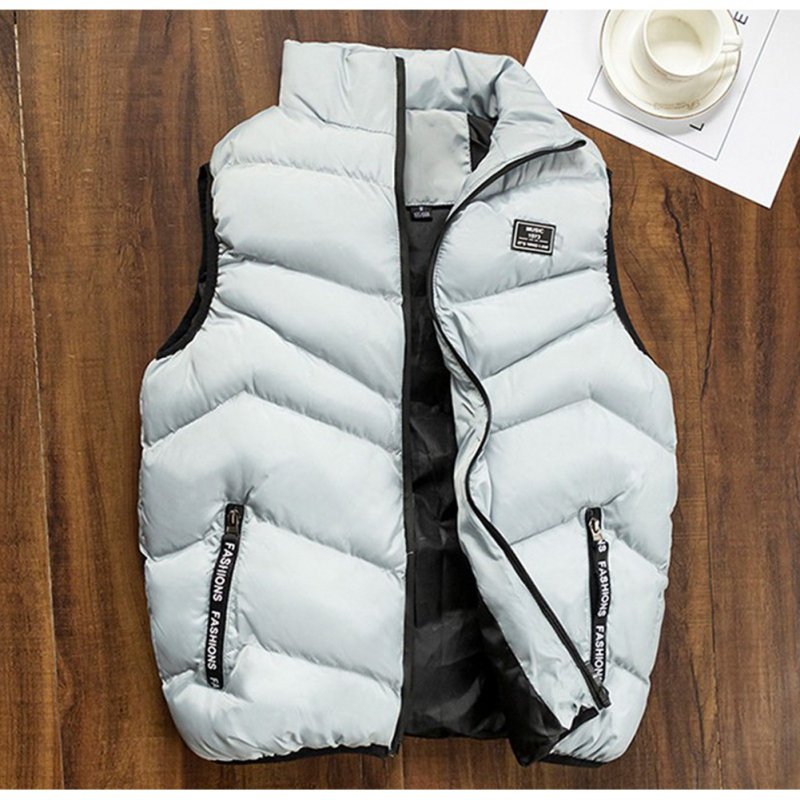 Casual Vest Men Winter Jackets Thick Sleeveless Coats Male Warm Cotton-Padded Waistcoat gray_XL