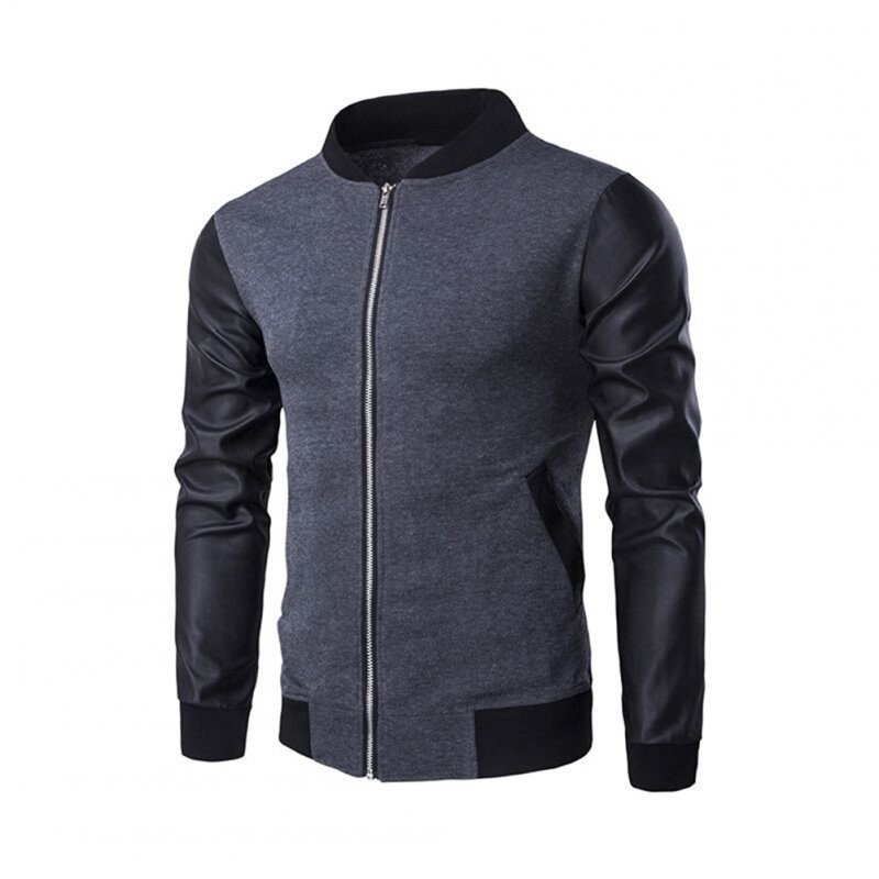 Casual Zippered Top Stand Collar Coat Long Sleeves Baseball Jacket Outwear for Man gray_(L)