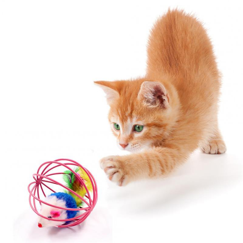 Cat Ball Artificial Mouse Cage Colorful Feather Cat Teaser Throw Toy Pet Supply Random Color Random colors