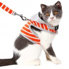 Cat Dog Harness & Leash Set Adjustable Puppy Kitten Walking Harnesses Vest Traction Belt for Small Dogs Cats Orange_S
