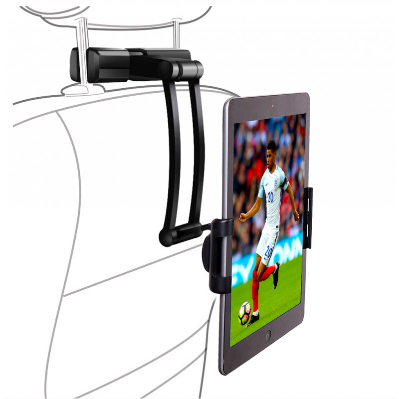 Cellphone Stand Tablet Holder for Car Backseat 360 Degree Rotation Mount Rear Seat Flexible Bracket  black with large chuck