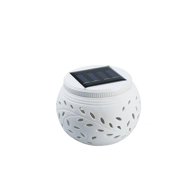 Ceramic Colour Changing LED Solar Filigree Light