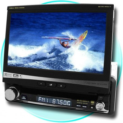 7-inch Motorized Touchscreen 1-Din DVD Player - Detachable Panel