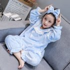 Childern Girls Pajamas Set Homewear Long Sleeve Nighties Sleepwear Suit  Light blue 120cm
