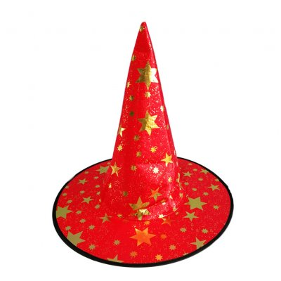 Children Adult Halloween Cosmetic Ball Party Pentagonal Magic Wizard Cap Witch Hat Red star hat_38*36cm
