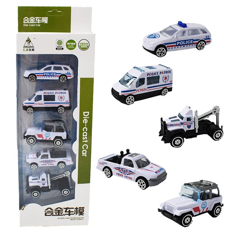 Children Alloy Car Simulation Police Car Toy Set Baby Hand Hold Vehicle Gift Toy HS-507