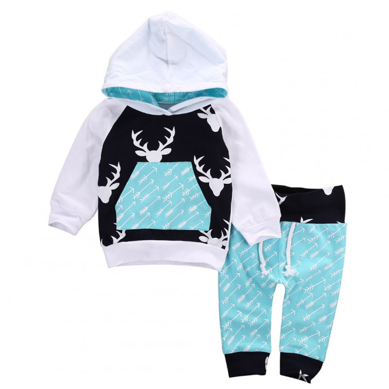 Children Baby Soft Cotton Hooded Pullover Christmas Elk Pattern Tops + Long Pants 2pcs Clothes Set