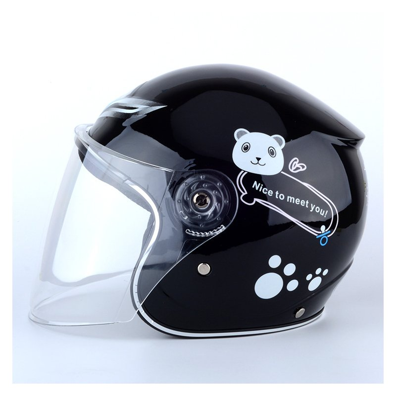 Children Boy Girl Advanced Warm Windproof Motorbike Helmet for Winter black