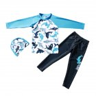 Children Boy Long sleeved Split Dolphin Pattern Sun Protection Swimsuit Sky blue XL