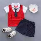 Children Boy Shirt Two-piece Set Baby Long Tie Short Sleeve Top and Shorts Fashionable Suit KY double led with red_110cm