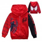 Children Boy Soft Full Cotton Jacket Fashion Spider Print Cardigan Jacket Coat red 130cm