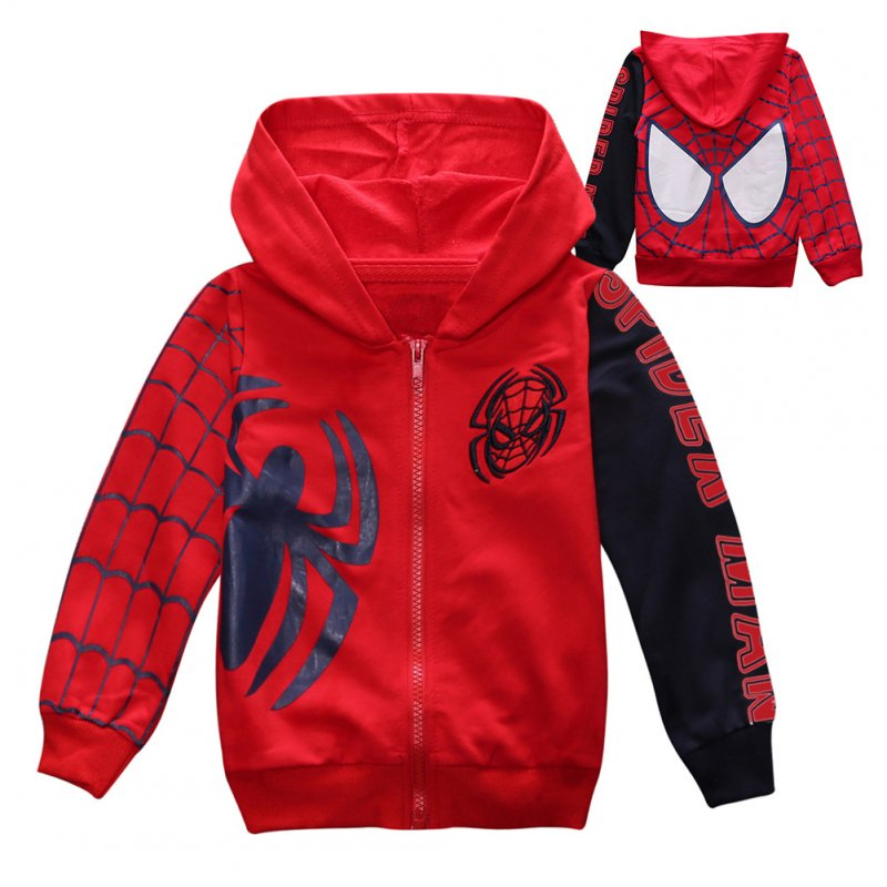 Children Boy Soft Full Cotton Jacket Fashion Spider Print Cardigan Jacket Coat red_130cm