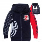 Children Boy Soft Full Cotton Jacket Fashion Spider Print Cardigan Jacket Coat Dark blue_140cm