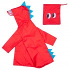 Children Boys Girls Cartoon Dinosaur Shape Raincoat Portable Outdoor Activities One-piece Raincoat red_XXL
