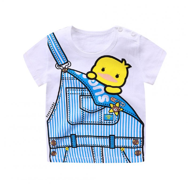 Children Cartoon Pattern Short Sleeve T-shirt Boys Girls Soft Cotton Tops T-shirt - blue dragon_90cm.
