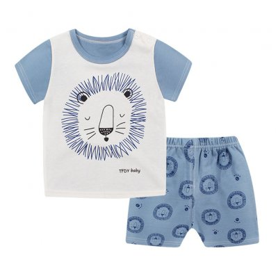 Children Clothes Suits Short Sleeve Top+Pants Suit Children Sleepwear Daily Wearing Cartoon lion short sleeve shorts suit_90/60 yards recommended height 85-95cm