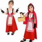 Children Cosplay Costume with Capped Shawl and Gloves for Stage Performance Beer Festival  red L